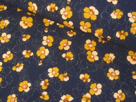 Viskosestoff, Freya - Blumen dunkelblau mit gold Glitzer