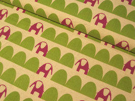 0,10 m Baumwolle/Leinen, Parallels Elefanten by Kokka