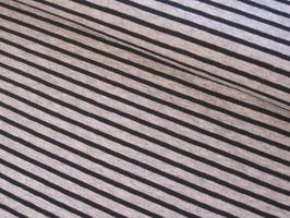 Baumwolljersey, Campan Streifen - grau meliert/schwarz