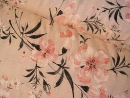 Viskosestoff, Blumenprint Genf - beige/rosa
