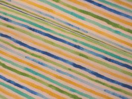 Baumwolljersey, Croco Paradise - Streifen blau/grün/gelb