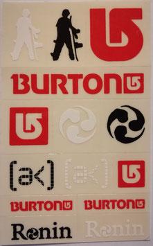 Burton - Snowboard Sticker Bogen - 13 kleine Sticker - rot