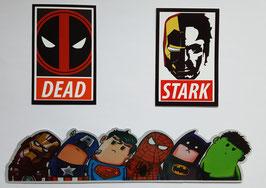 Superhelden Sticker Set