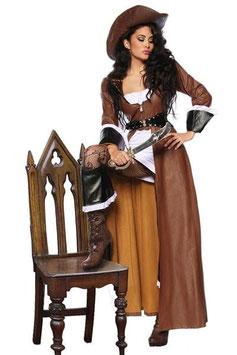 Kostüm Piratinnen-Mantel mit Hut