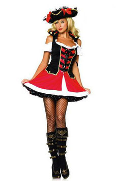 Kostüm Piratin rot-weiss-schwarz