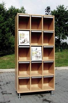 Schrank mit 15 Zeitschriftenklappen