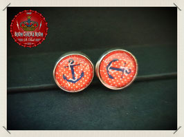 Anker auf rot/ weiss Glas Cabochon Ohrstecker