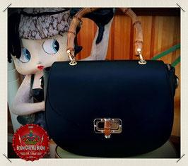 Lederhandtasche Vintage mit echtem Bambusgriff, schwarz