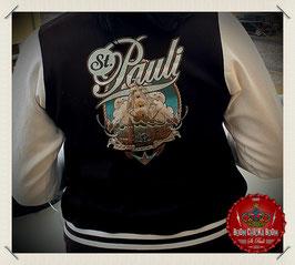 """Damen Sweat Jacke s/w """"St. Pauli Segelschiff Oldschool"""""""