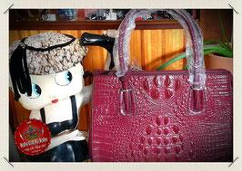 Lederhandtasche Vintage in Kroko Optik, bordeaux