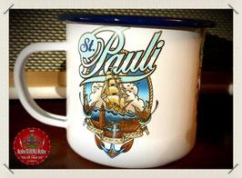 St. Pauli Segelschiff Emaille Becher