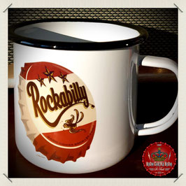 """Rockabilly Kronkorken"" Emaille Becher"