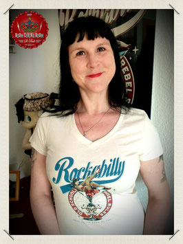 "T Shirt ""Rockabilly Pinup"" auf Winter White"