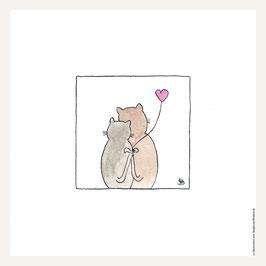 Poster 30x30 cm    Katzenliebe