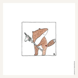 Poster 30x30 cm   Fuchs mit Steckenpferd