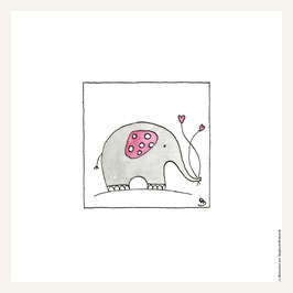 Poster 30x30 cm    Elefant rosa