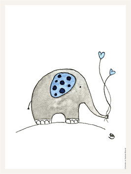 Poster 30x40 cm | Elefant blau