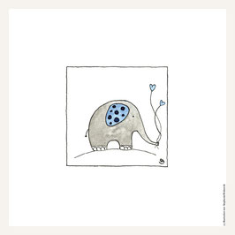 Poster 30x30 cm    Elefant blau