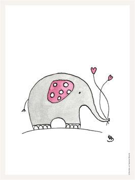 Poster 30x40 cm | Elefant rosa