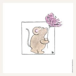 Poster 30x30 cm   Maus mit Blume