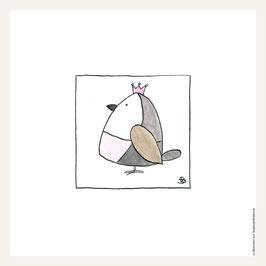 Poster 30x30 cm   Vogel rosa