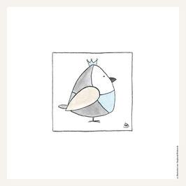 Poster 30x30 cm    Vogel blau