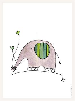 Poster 30x40 cm | Elefant grün