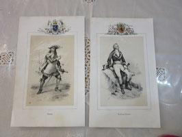 5-  32  フランス古い印刷、騎士2枚set