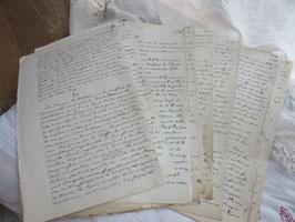 5-  48   古いフランス買い付け筆記体文字、紙物28枚