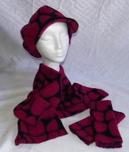Damenmütze, Schal und Stulpen 3-teilig lila-schwarz