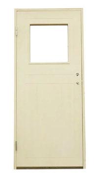 """Förrådsdörr 9x20 med fönster """"Rektangel"""" Grundmålad"""