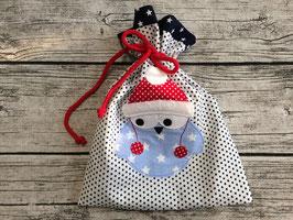 Nikolausbeutel, Geschenkbeutel in Blau mit Sternchen, bestickt mit Mützeneule, personalisierbar