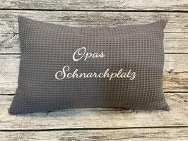 """Großes Kuschelkissen, Sofakissen, """" Opas Schnarchplatz"""", 30x45 cm aus Waffelpique"""