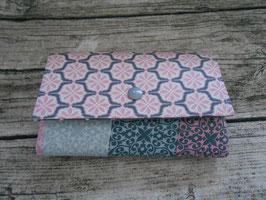 Geldbörse Portemonnaie aus beschichteter Baumwolle in Rosa/Grau