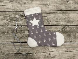 Nikolaussocke in grau mit Ankern