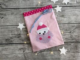 Nikolausbeutel, Geschenkbeutel in Rosa/Pink mit Sternchen, bestickt mit Mützeneule, personalisierbar