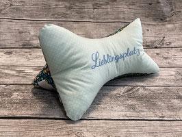 """Leseknochen """"Lieblingsplatz"""" in Mint Türkis mit bunten Blumen"""