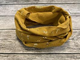 Loop aus Musselin in Senfgelb mit goldfarbenden Zweigen