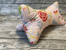 Leseknochen in Rosa mit Blumen und Wellensittichen