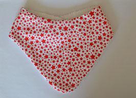 Frottee-Halstuch sterne rot auf weiß