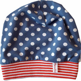 Babymütze Jersey Punkte blau