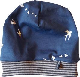 Babymütze Jersey blau Schwalben