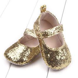 Chaussons paillettes dorées