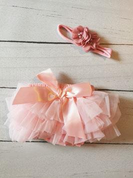 Culotte à volants rose et bandeau assorti