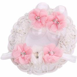 Fleurs de pieds bébé rose et blanc+ headband