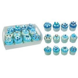 Boîtes à dragées cupcakes bleu