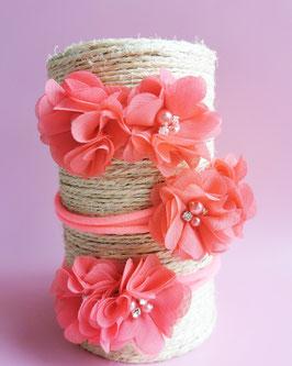Bandeau bébé fleurs corail strass