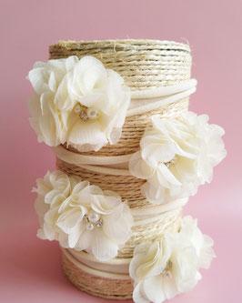 Bandeau bébé fleurs crème