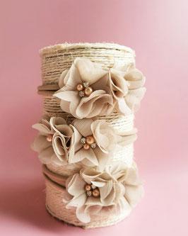 Bandeau bébé fleurs taupe et strass