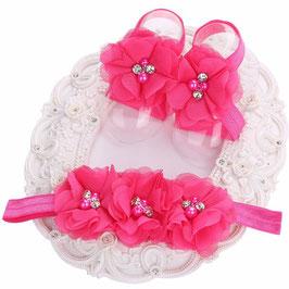 Fleurs de pieds bébé rose fuschia+ headband
